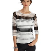 White House | Black Market Open Weave Stripe Sweater