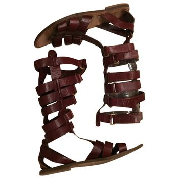 Brown leather sandals D&G Brown