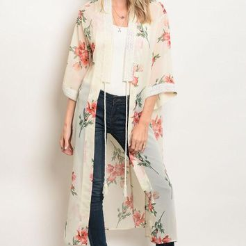 Floral duster with tie closure