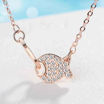 YAAMELI Lovely Cute Fish Rhinestone Pendant Necklace For Girls 925 Sterling   Silver Wedding Jewelry 18 inch Chain Necklace