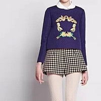 Garland Embroidery Peter Pan Collar Long-Sleeve Shirt