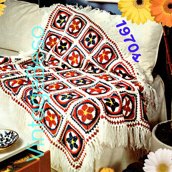 Star Afghan CROCHET Pattern • Patriotic 1970s Vintage Star Motif Blanket Cover Blanket Throw • DIGITAL PATTERN • PdF Pattern