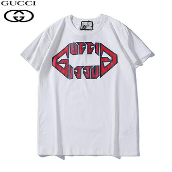 GUCCI 2019 early spring print letter short-sleeved T-shirt white