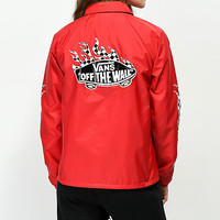 Vans Checkerboard Flame Red Coaches Jacket | Zumiez