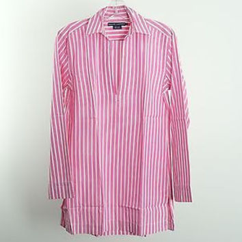 Ralph Lauren Pink White Striped Tunic Shirt Top Size S