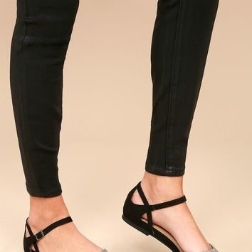 Helena Grey and Black Snake Suede Flats
