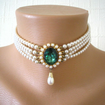 Great Gatsby Jewelry, Wedding Jewelry, Pearl Choker, Bridal Jewelry, Peridot Choker, Cream Pearls, Vintage Pearls, Pearl Bridal Necklace