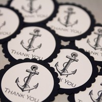 Nautical Themed Anchor Thank You Party Favor Gift Tag Set of Ten