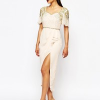 Virgos Lounge Laila Embellished Midi Dress With Thigh Split Detail