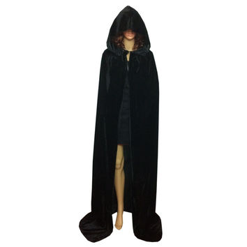 Festival Hooded Cloak Cosplay Velvets mantle Gothic Cape Wicca Robe Vampire Costume