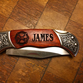 Personalized Laser Engraved Maltese Cross Hunting Knife