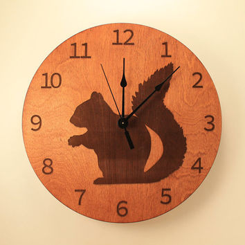 Squirrel laser cut clock Animal clock Wood clock Wall clock Wooden wall clock Wildlife clock Woodland creature Squirrel decor Home clock