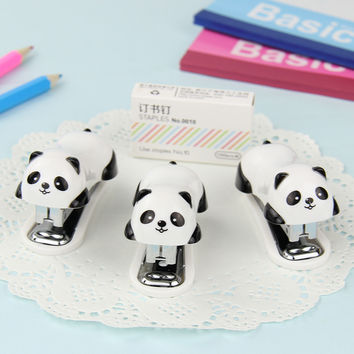 1 Set Fashion Cartoon Panda Stapler Set Paper Office Binding Binder Staples Essential Supplies Gift for Student
