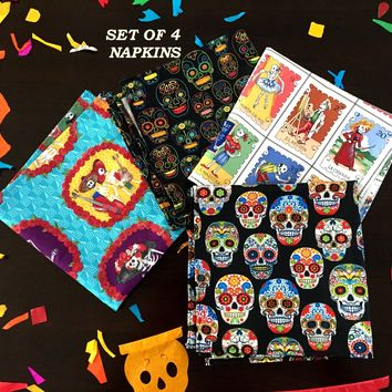 Dia de Muertos decor, Day of the dead Napkins, Mexican Dinner party Muertos, Mexican fiesta decoration MN10