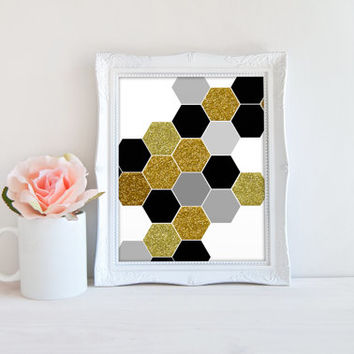 Hexagon Gray Gold Glitter Black Printable Sign, Honeycomb Shapes Printable Digital Wall Art Template, Instant Download, Customizeable 8x10