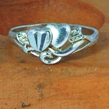 Heart Ring - Double Heart Promise Ring - Friendship Ring - Size 6 and 7 available - Great for Valentines Day