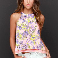 Something in the Sway Coral Floral Print Halter Top