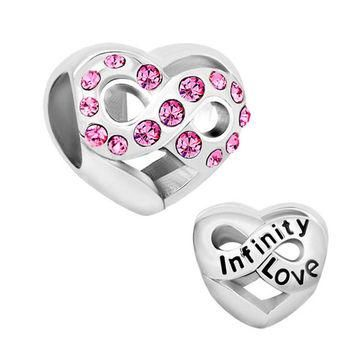 Charms 1PC Pink Crystal Infinity Love European Large Hole Fits Pandora Bracelets Beads