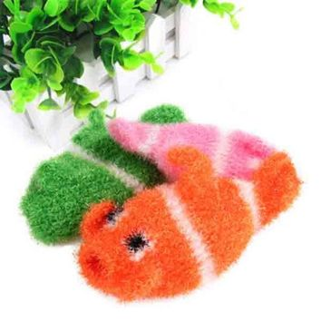Cute Fish Shape Washing Towel Coral Cashmere Kitchen Bowl Pot Cleaning Tools