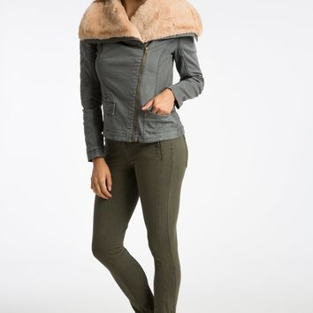 Lin Fur Collar Wrap Jacket