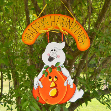 Halloween Sign, Wall Decor, Halloween Door Decor, Ghost with Pumpkin Sign, Wreath Center, Happy Haunting