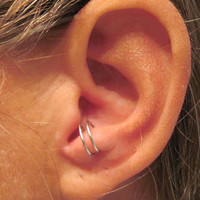 "No Piercing Sterling Silver Ear Cuff for Anti Tragus Cuff  ""Simple Loops"""