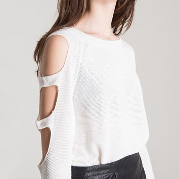 White Cold Shoulder Cut Out Sleeve Rib Trim Sweater