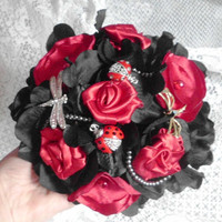 Red and Black Bouquet, Brooch Bouquet, Broche Bouquet, Fabric Flower Bouquet. dragonflies Satin, Pearls, Wedding Party package, Bridal Party