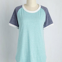 Flatter Up! Tee in Aqua | Mod Retro Vintage Short Sleeve Shirts | ModCloth.com