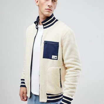 Tommy Hilfiger Fariel Zipthru Borg Fleece Reversible Bomber Jacket in Cream and Navy at asos.com