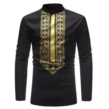 Black and Gold Diamond Pattern Mens Hipster African Dashiki Longline Shirt