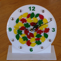 red gold green leaves clock  8 inch wall or  desk shelf clock acrylic