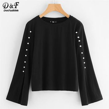 Pearl Beaded Split Sleeve Top Black Round Neck Tunic Blouse Woman Autumn Long Sleeve Plain Blouse