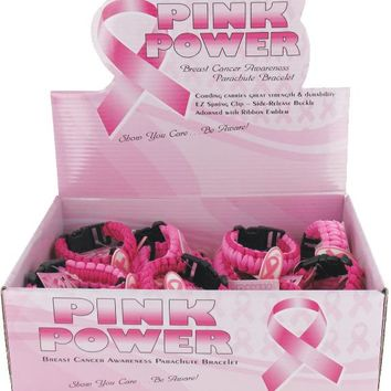 Breast Cancer Awareness Paracord Bracelet with Display - 144 Units