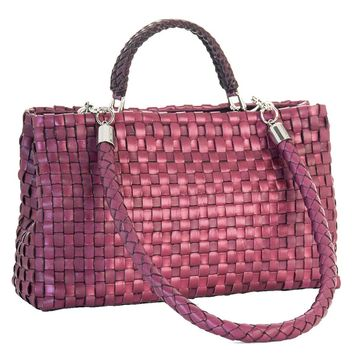 Serena-Hand Woven Leather Handbag-Berry