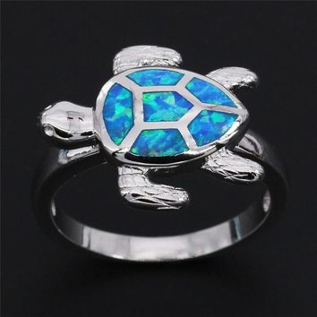 Natural Stone Blue Opal Turtle Silver Plated Ring