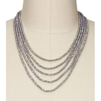 Mauve Crystal Glass Beaded Necklace