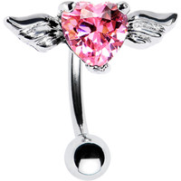 Top Mount Pink CZ Heart Angel Wing Belly Ring | Body Candy Body Jewelry
