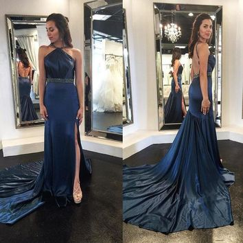 Beaded Navy Blue Halter Evening Gown,Backless Prom Dress With Side Slit