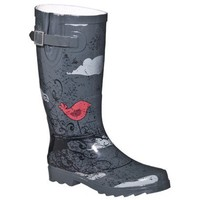 Womens Retro Birdie Rain Boots - Gray