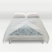 Snow into the forest Duvet Cover by Cafelab
