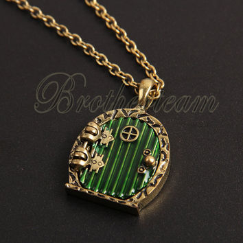 Bronze Door Locket Pendant Necklace antique Bronze/silver alloy Door Locket Pendant Necklace