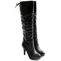 Back Lace Up Knee-High Boots with Stiletto Heel Design