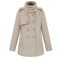 beige cape Wool Cape Cashmere coat Double breasted button coat winter coat  cloak  cape with fur collar dy39 S,M,L,XL,XXL