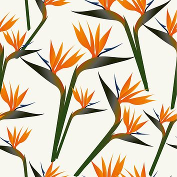 Orange Flowers Garden Wallpaper Reusable Removable Accent Wall Vintage Style Interior Art (wal009)