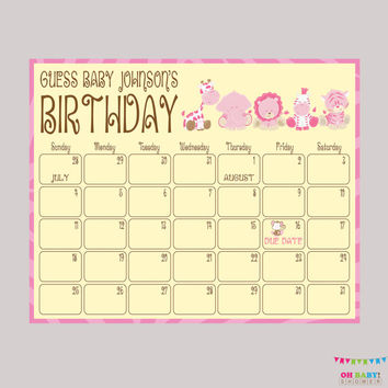 Pink Safari Baby Shower Birthday Predictions - Printable Baby Shower Due Date Calendar & Birthday Guess - Girl Baby Shower Activity BS0001-P