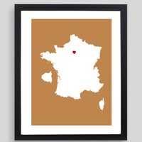 My Heart Resides In Paris France Art Print - Any City, Town, Country or State Map Customized Silhouette Gift