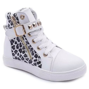 Leopard Print Zippered Ankle Boots With Rivets Design