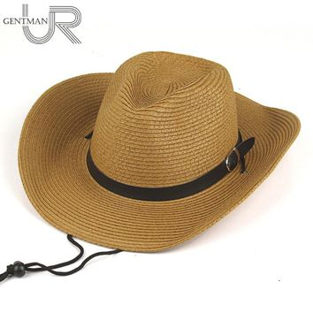 Men And Woman Summer Straw Cowboy Hat Folding Beach Hat Large Brimmed Hat, Sun Cap ,Bucket Hat 4 Colors