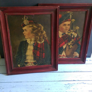 Anne Allaben Jeannie and Jamie framed Prints from the 1940's/ Scottish Children Portraits/ Vintage Scottish Art/ Kitsch Scottish Art